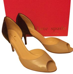 Kate Spade Patent Leather Leather Sole Powder and Black Pumps