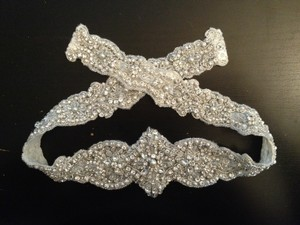 Mori Lee Silver and White Sparkling Belt with Swarovski Crystals Sash