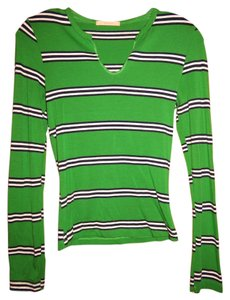 Forever 21 21 Vneck V-neck Long Sleeve Top Green with Navy Blue and White
