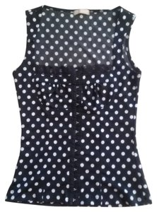 Forever 21 Pinup Bustier Eyelet Lace Top black/white polka dot
