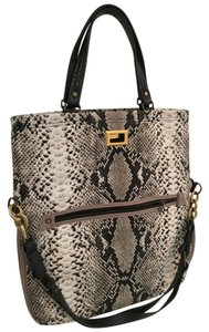 Lanvin Snakeskin Print Lined Canvas Tote in brown, beige, and cream