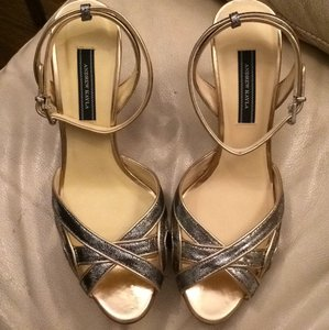 BHLDN Wedding Bridal Metallic Silver w/ Copper Trim Sandals