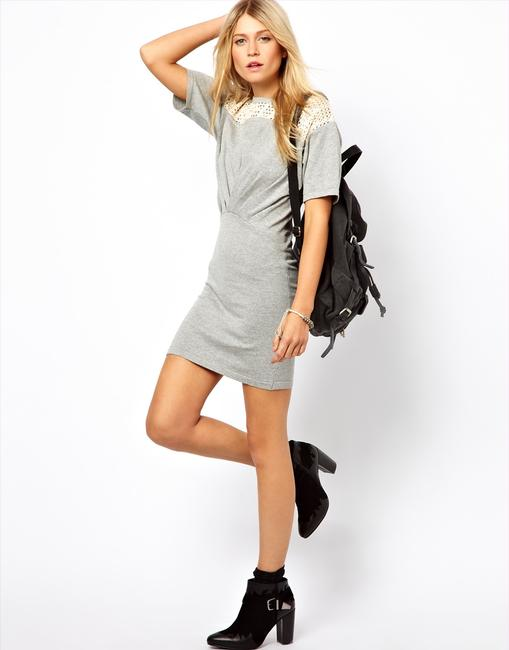 ASOS short dress Gray Knit Lace Chic on Tradesy