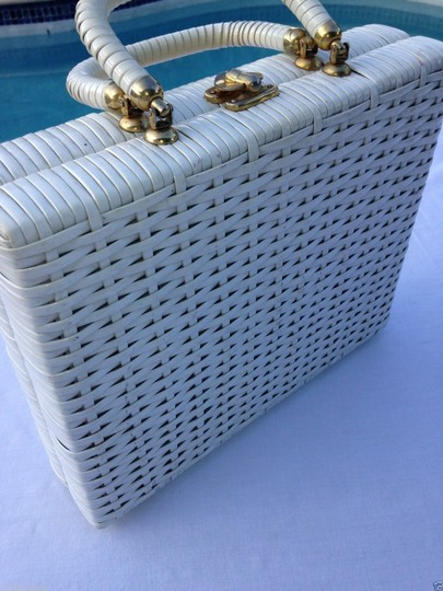 Other Box Purse Woven Crochet 60s 1960s Summer Spring Picnic Satchel in White
