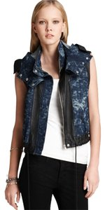 Cut25 Leather Denim Hooded Vest