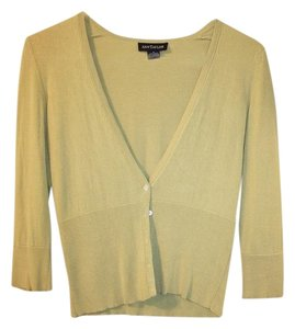 Ann Taylor Light Green 3/4 Length Sleeve Three-quarter Length V-neck Green Silk Cotton Cashmere Cardigan
