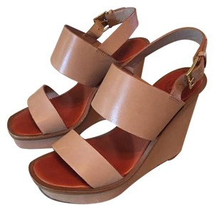 Tory Burch Lexington Lexington Wedge Leather Leather Wedges luggage blush Sandals