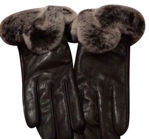 GORGEOUS BROWN LAMBSKIN LEATHER GLOVES TRIMMED W/LUSH REX RABBIT TRIM