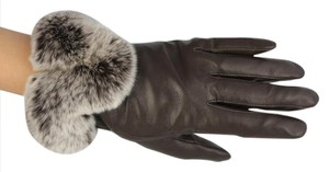 Other LAMBSKIN LEATHER GLOVES W/REX RABBIT TRIM