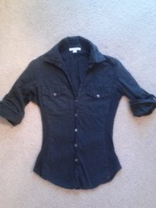 James Perse James Button Down Shirt black