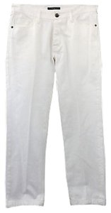 Theory Cotton Denim Jeans Straight Pants WHITE