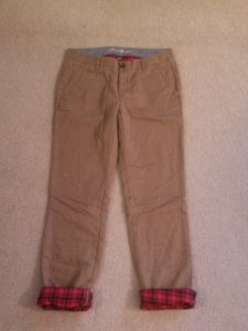 Eddie Bauer Flannel Lined Northwest Outdoors Red Flannel Boyfriend Pants Tan