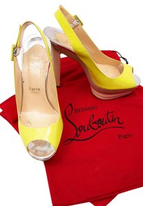 Christian Louboutin Yellow Silver Beige Chunky Heel Yellow/Beige/Silver Platforms