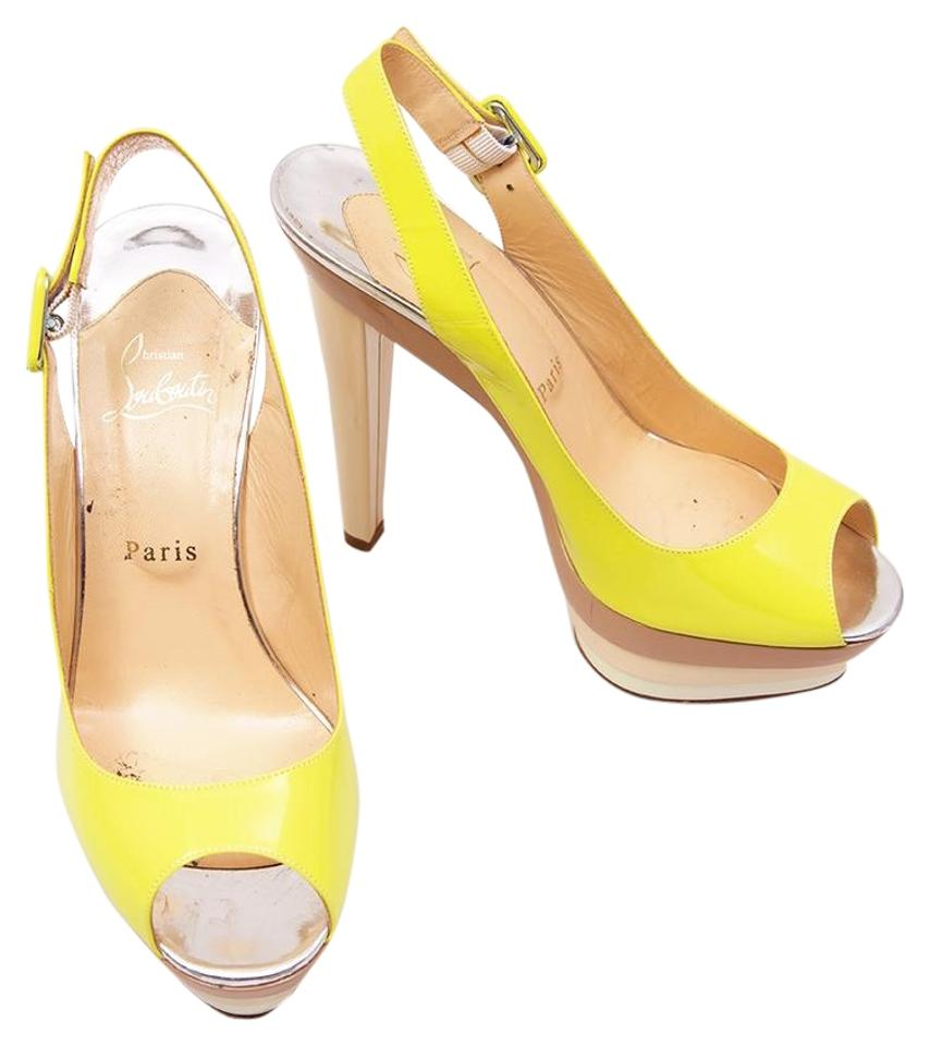 huge discount 0a5b9 28433 Christian Louboutin Yellow/Beige/Silver * 123 Scarpe 140 Patent Calf  Sandals - Platforms Size US 8.5 Regular (M, B) 32% off retail