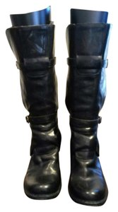 Fiorentini + Baker Heeled Leather Straps Buckles Chic Stylish Black Boots