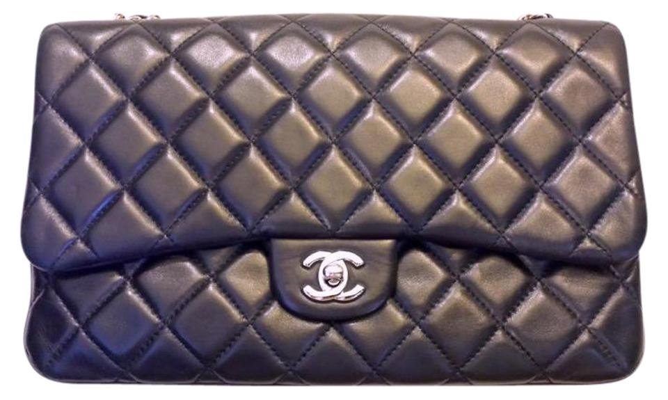 6b3d9c14a734 Chanel Classic Flap 2.55 Reissue Three 3 Compartment Quilted Cc Logo Jumbo  Navy Blue Lambskin Leather Shoulder Bag