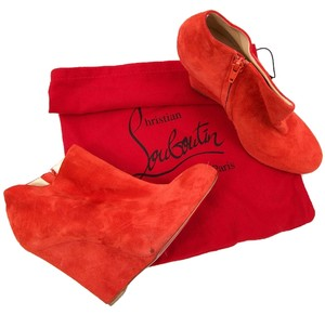 Christian Louboutin Wedge Zip Mandarin Red Boots
