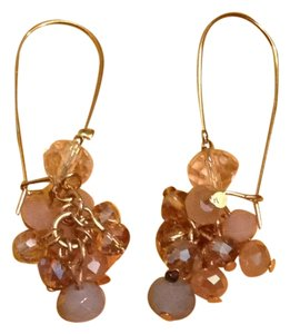 Charming Charlie Light Pink & Gold Drop Earrings