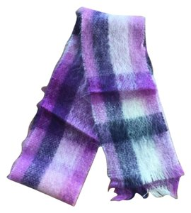 Banana Republic Banana Republic Mohair & Wool Purple Plaid Scarf