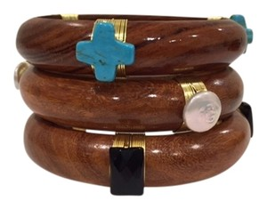 Wood Wooden Bangle Bracelets with Semi-Precious Beads