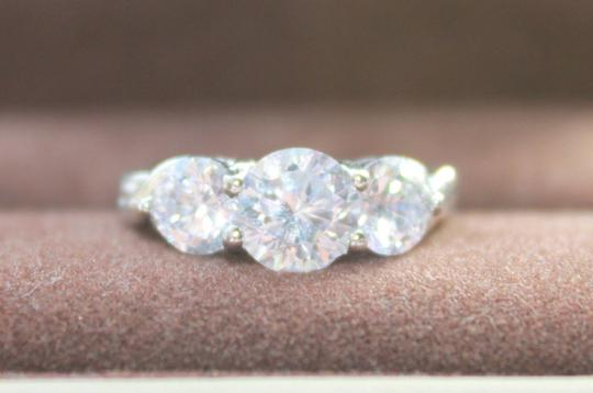 3 Stone White Sapphire Engagement Ring Free Shipping