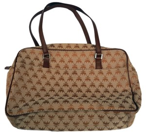 Brooks Brothers Monogramed Leather Canvas Satchel in Tan & Brown