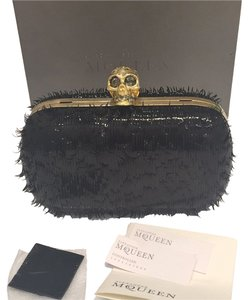 Alexander McQueen Black Leather Black Leather Evening Evening Formal Clutch