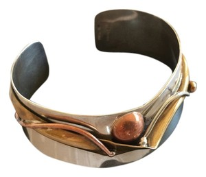 Handcrafted, One-of-a-Kind, Sterling, Brass and Copper Cuff Bracelet