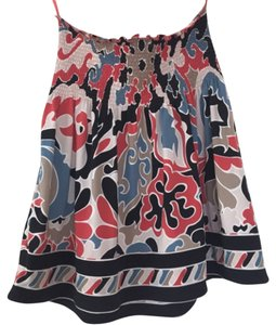 BCBGMAXAZRIA Top Blue/coral/white/tan/black