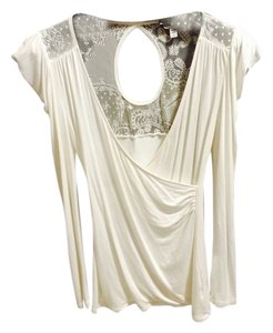 bebe Cross Front Low-cut Lace-embellished T Shirt white