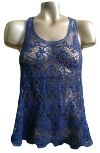 LC Lauren Conrad Crochet Open Weave Sheer Beach Vacation Sexy Casual Racerback Top Navy Blue