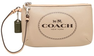 Coach Monogram Leather Horse Carriage Tan Medium Wristlet in Light Khaki