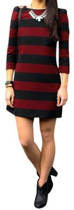 Zara short dress Stripe (Black and Maroon) on Tradesy