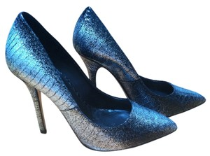 Boutique 9 Stiletto Metallic Leather Silver Black Snakeskin Pumps