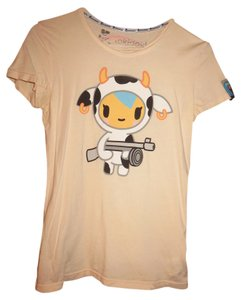 Tokidoki Japanese Italian Cow T Shirt Cream with Graphic