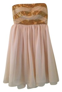 Minuet Petite Beading Gold Beige Mini Dress
