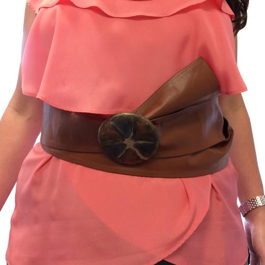 Other LIGHT SIENNA LEATHERETTE LONG WRAP AROUND BELT WITH VINTAGE CLASP