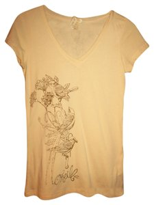 O'Neill Bird Flowers V-neck T Shirt Pale Yellow with Brown Design
