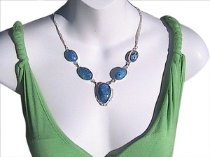 925 Blue Enamel Necklace