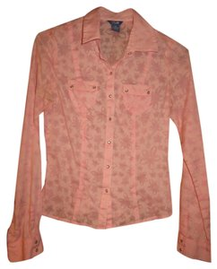 Lilu Pink Floral Snap Long Sleeve Button Down Shirt Light Pink
