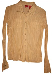 TILT Snap Stripes Long Western Button Down Shirt Tan with Dark Brown, Olive Green, White and Silver vertical lines