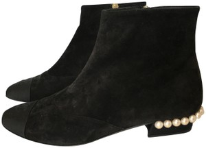 Chanel Suede Leather Pearls Classics Black Boots