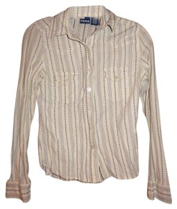 Roxy Longsleeve Button Down Shirt White with Blue design