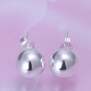 Mother Of Bride Ball Stud Solid Bridal Sterling Silver 925 Earring Jewelry Bridesmaid Gift