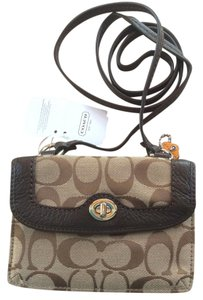 Coach Signature Fabric Leather Wallet F49951 Cross Body Bag