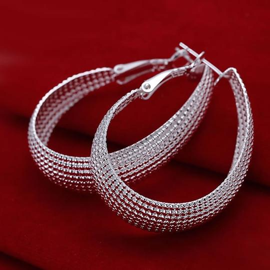 New Hoops Large Bride Bridesmaid Gift Mother Wedding Bridal Sterling Silver Earrings Jewelry