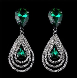 Green New Dangle Hang New Crystal New Earrings