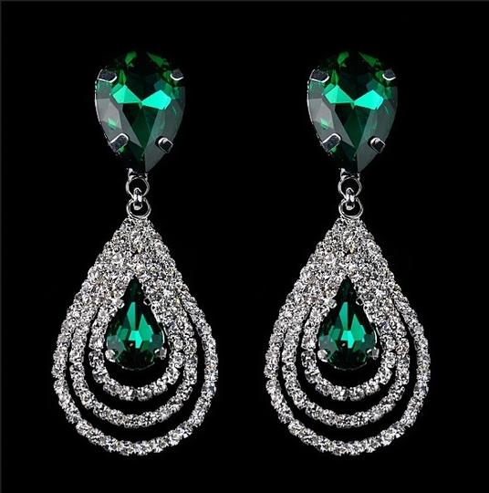 Green Drop Earring Solid Crystal Fall Dangle Bridesmaid Green Leaf Fashion