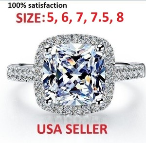 Sizes 4 5 6 7.5 8 In Stock Sona Nscd Diamond Ring Made Cushion 3.3 Ct Platinum Plated Pt950 Engagement Bridal Wedding