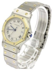 Cartier Cartier Santos Yellow Gold and Stainless Steel Two Tone Mid Size Octagon Watch